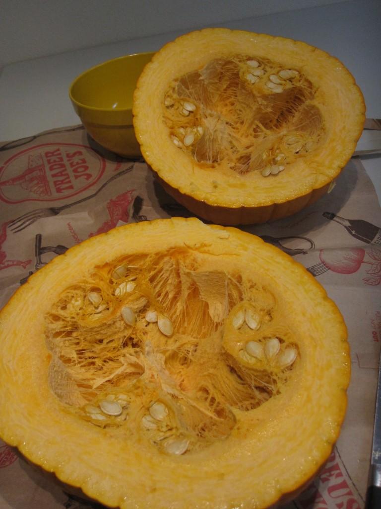 Greasy grimy pumpkin guts!