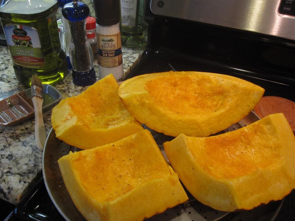 Pumpkin prepared for roasting